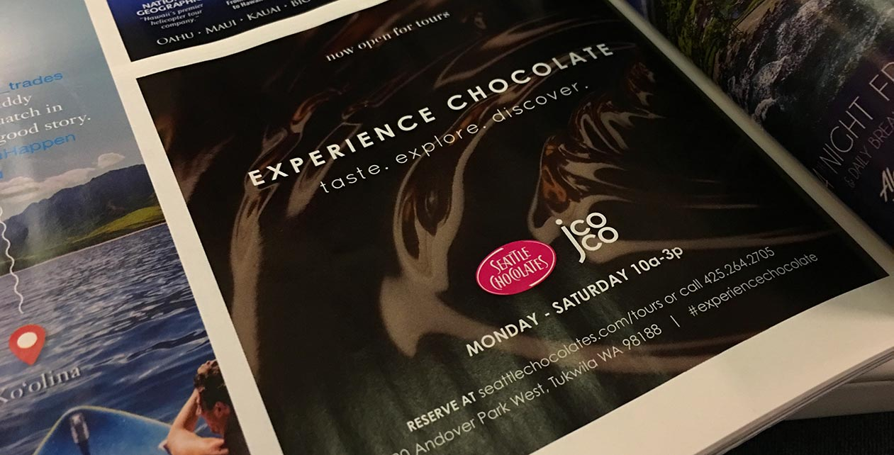 Seattle Chocolates Tour Ad for Alaska Airlines Magazine
