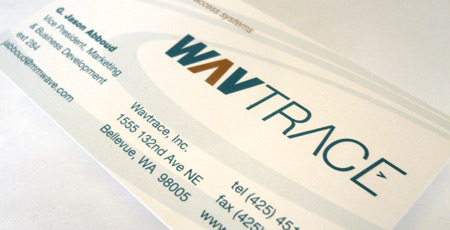 Wavtrace business card designed by Hovie and TMA Design